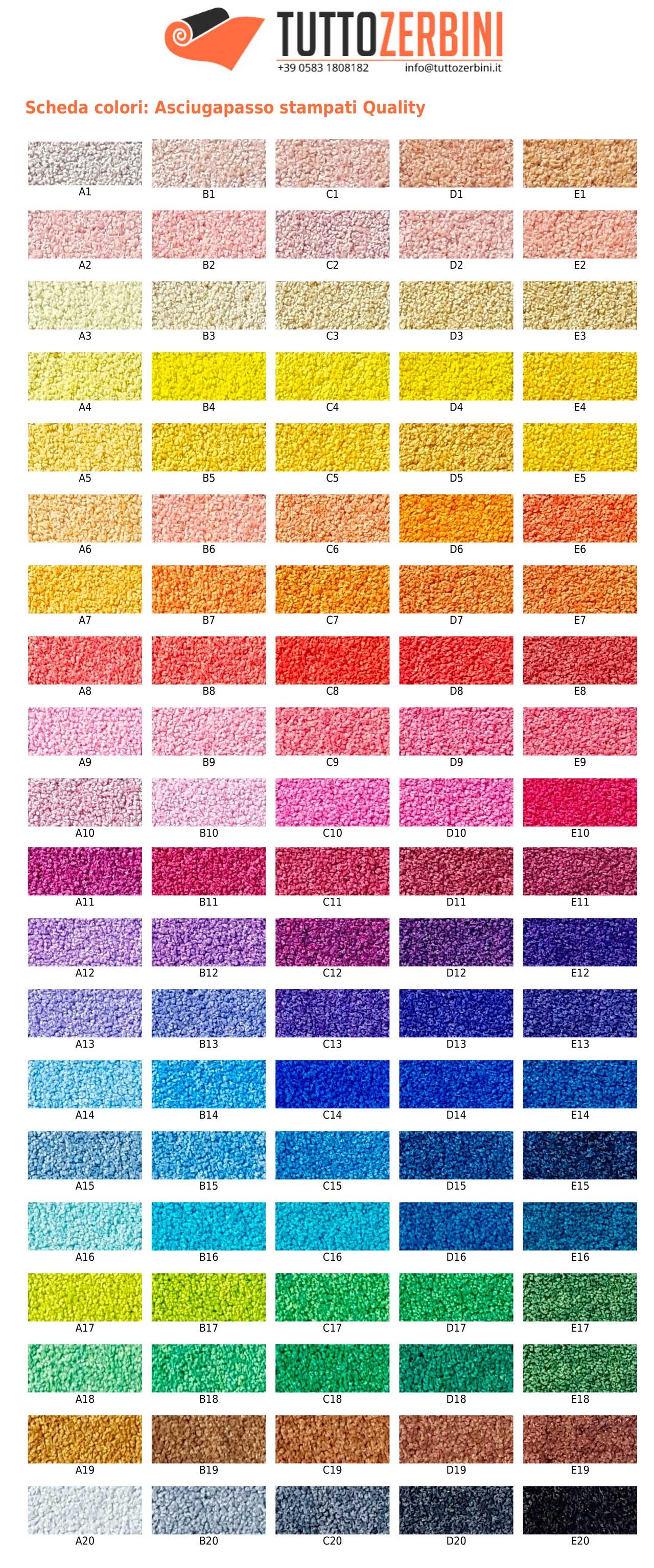 Tabella colori asciugapasso Service