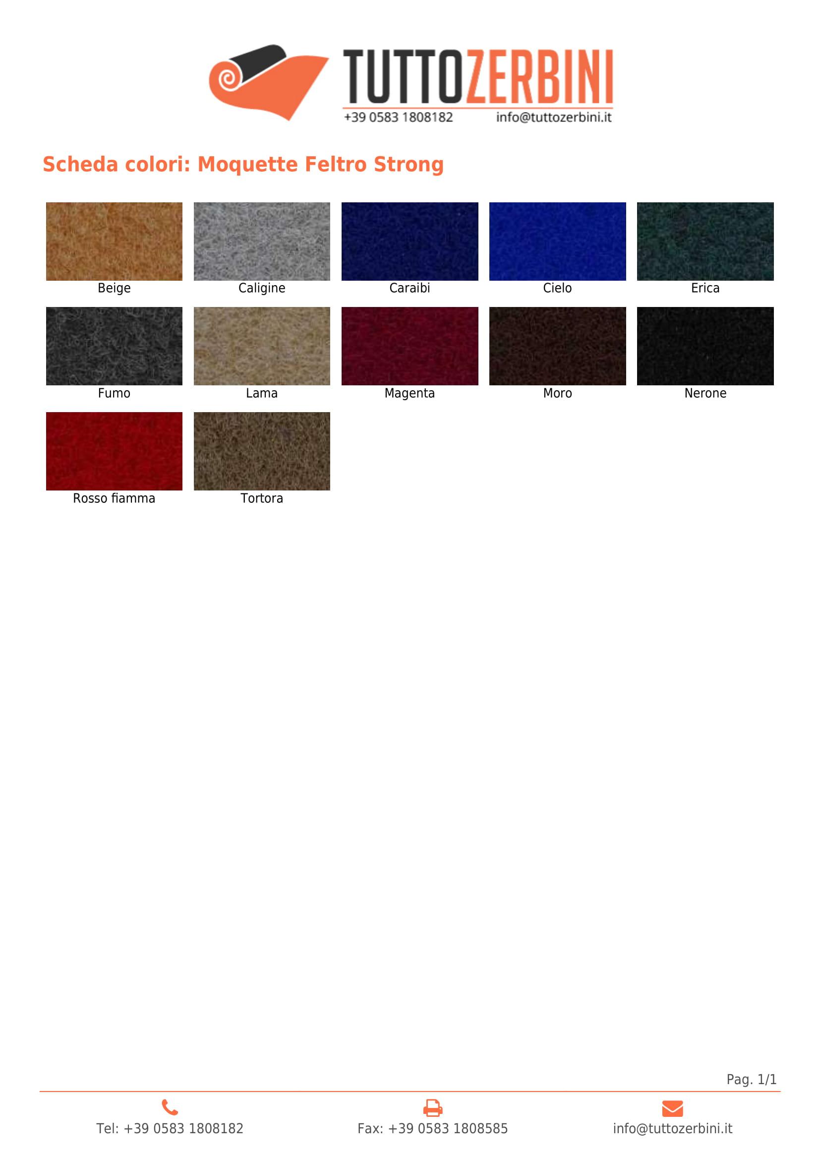 Scheda colori Moquette in feltro Strong
